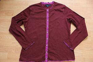 BODEN burgundy 100% cotton  cardigan size 18 (XL) NEW. contrasting trim
