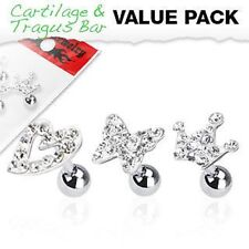 3 16G Surgical Steel Clear Multi CZ Paved Tragus Cartilage Helix Piercin Earring