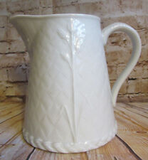 Royal Worcester White Pitcher Embossed Basketweave Wheat Gourmet Oven China 40oz