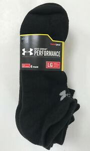 NWT 6 Pairs Under Armour Men's LG Performance No Show Socks BLK WHT Shoe Sz 9-12