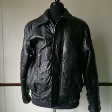 Men's Genuine Black Italian Style Leather Jacket Coat By Fondini Fashions Size M