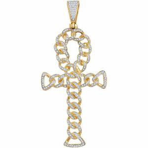 10k Gelbgold Herren Rund Diamant Ankh Kreuz Kubanische Verbindung Anhänger 7/8)