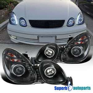 For 1998-2005 Lexus GS300 98-00 GS400 8-SMD LED Halo Projector Headlights Black