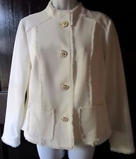 Chico's Ivory Gold Button Fray Embellished Blazer Sz 1