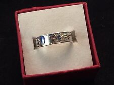 Sterling Silver 5mm Stained Glass Motif Floral Band 2.2g Ring 6.25