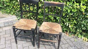 Two Arts & Crafts Rush Seated Chairs