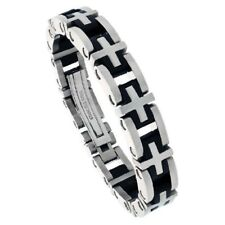 Gent's Stainless Steel & Rubber Cross Link Bracelet