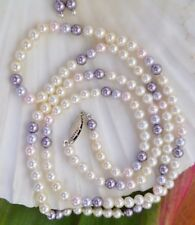 SWAROVSKI CRYSTALS 4mm White, Pink, Purple Necklace & 4mm Earrings 959 SS