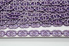 Rhinestone Diamante Chain Ribbon Sewing Trim Embellishment Diamond Bridal Purple