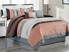 11-Pc Colette Floral Weaves Pintuck Comforter Curtain Set Peach Pink Gray King