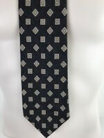 "BROOKS BROTHERS Necktie CASHMERE & SILK Tan Geo on Black Made in Italy 59"" Tie"