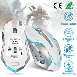 2.4G Wireless Gaming Mouse 7 Buttons 2400 DPI Breathing Unique Silent + Receiver