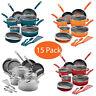 15 Piece Rachael Ray Cucina Hard Aluminum Enamel Nonstick Cookware Modern Set