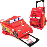 """Cars Mcqueen Rolling Bag  3D Shape Roller Backpack 12"""" Small Trolley"""