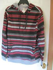 NWT Men's Hybrid Tees Black,Red,Gray striped Pattern zip up hoodie Size Medium