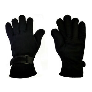Mens Insulated Fleece Gloves Thermal Soft Extra Warm Straps Lined Winter Gloves
