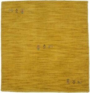 Modern Solid Gold Square Rug 3X3 Tribal Hand-Loomed Oriental Kids Room Carpet