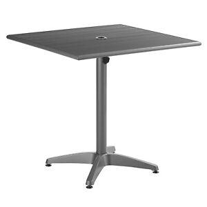 "32"" x 32"" Square Gray Aluminum Garden Patio Dining Table with Umbrella Hole"