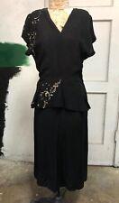 Vintage 1940s Black Crepe Silk Midi Dress Peplum Silver Scrolling Sequins WWII