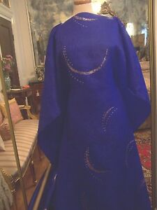 3.25yds FRENCH HAUTE COUTURE ROYAL BLUE JAQUARD ORGANZA FABRIC W/ JEWELLED MOONS
