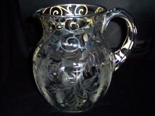 Engraved Glass & Sterling Silver Overlay Water Pitcher