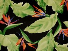 Birds of Paradise Tropical Floral MIDNIGHT Home Decor Drapery Sewing Fabric BTY