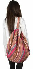 Large Pink Tote Shoulder Bag Baguette Handbag Quilted Canvas Market Fashion Boho