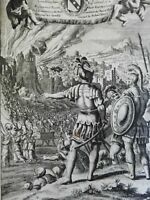 Siege of Jericho Joshua Hebrew Warriors 1690 Blome antique religious engraving