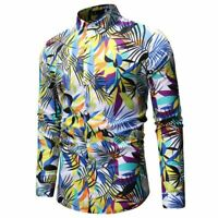 Dress shirt tops formal casual slim fit long sleeve luxury men's stylish floral