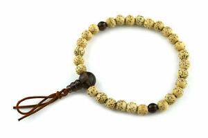 Bodhi Seed Wood&Smoky Quartz Crystal Japan Juzu Bracelet Prayer Mala beads