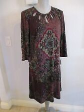 NWT GABBY SKYE SIZE 14 WINE TAPESTRY LOOK LINED KNIT DRESS MSRP $98.00