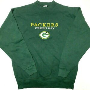 Green Bay Packers Mens Vintage Sweatshirt Green Yellow Embroidered Size XL UVG