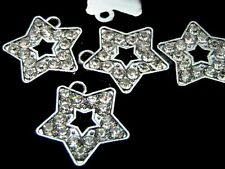5 x 18mm Silver Tone Tibetan Silver Rhinestone Star Pendants Charms Craft O108