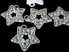 5 x 18mm Silver Tone Tibetan Silver Rhinestone Star Pendants Charms Craft O108