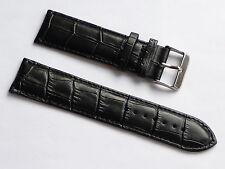 Quality Lug 24mm Black Genuine Leather Alligator Strap