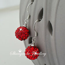 925 Sterling SILVER RED MAGIC BALL Dangle EARRINGS with SWAROVSKI CRYSTAL EFX007