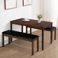 3PCS Dining Table Set w/ 2 Leather Benches Pine Wood Kitchen Furniture Brown