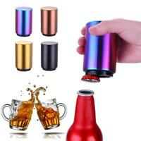 Magnet Automatic Beer Bottle Opener Push Down Soda Cap Collector Stainless Steel