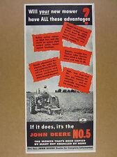 1949 John Deere No. 5 Mower farmer mowing field tractor photo vintage print Ad