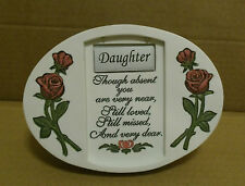 DAUGHTER OVAL MEMORIAL PLAQUE LED LIGHT  ROSES, VERSE GRAVE or CEMETERY ORNAMENT
