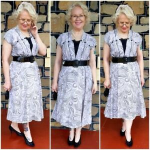 1940's Rayon Day dress, lavender/black, handmade, size 14