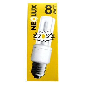 2x Neolux 8W=40W E27 827 Stick Fluorescent Lamp Compact Fluorescent Lamp Set O