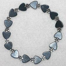 Stylish Black Magnetic Hematite Love Hearts Daisy Flower Beaded Bracelet Gift