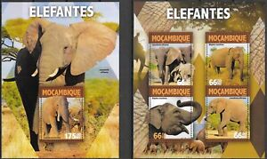 "MOZAMBIQUE - 2016 MNH ""Wild Animals - ELEPHANTS"" Two Souvenir Sheets !!!"