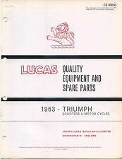 Triumph Motorcycles & Scooters 1963 original Lucas Spare Parts List No. CE830/63