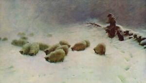 Art Print Scottish FARQUHARSON Shepherd Sheep A JOYLESS WINTER DAY Landscape
