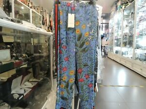 GUCCI Silk Trousers With Bloom Print Blue Pants - New & Authentic
