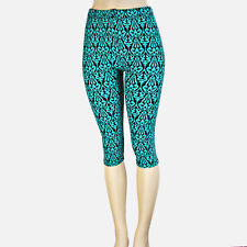 Teal and Black Abstract Capri Leggings   S/M