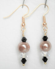 Champagne gold 8mm glass pearl clear and black glass bead earrings 4cm