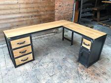 Bureau d'angle industriel sur mesure bois métal